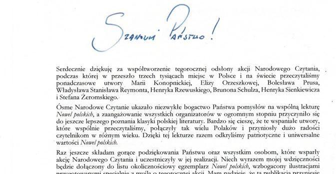 Podziękowanie od Prezydenta Pana Andrzeja Dudy